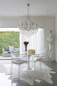 Contemporary Dining Room with beautiful sheer curtains - ripple fold pleating