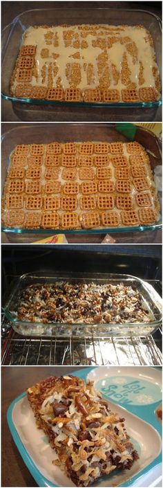Caramel Pretzel Magic Bars-1 1/2 cup graham cracker crumbs 6 Tbsp butter, melted 1-14oz can sweetened condensed milk 50+ pretzels (I used Snyder's Snaps) 20 caramels, unwrapped cut in fourths (*They now sell caramel bits at the store near the chocolate chips! So much easier than unwrapping cutting up caramel squares. I would try 1 cup of caramel bits if you aren't using the squares.) 1 cup milk chocolate chips 1 cup sweetened coconut flakes