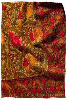 The Antiquaires Shawl Collection — Seasons by The Kashmir Company Kashmiri Shawls, Hearth And Home, Downy, Kawaii Clothes, Modern Outfits, Shades Of Red, Flower Patterns, Fashion Bags, Embroidery Designs