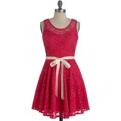 Then and Wow Dress ($48) ❤ liked on Polyvore featuring dresses, vestidos, robe, modcloth, sash belt, red sash belt, red sheer dress, red dress and stretch dress