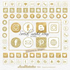 Gold glitter social media icons clipartGold foilRound | Etsy Simple Collage, Website Icons, Social Media Icons, Collage Sheet, Paper Background, Gold Glitter, Pink And Gold, Clip Art, Prints