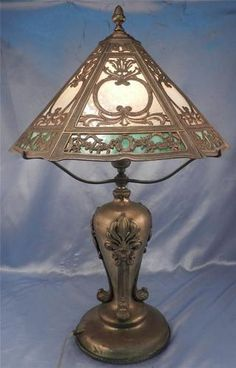 Antique c1900 Art Nouveau Leaf Floral Design Slag Glass Table Lamp NR | eBay