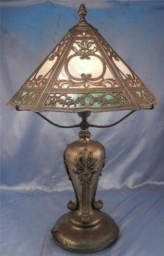 Antique c1900 Art Nouveau Leaf Floral Design Slag Glass Table Lamp NR | eBay