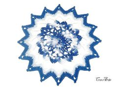 Crochet White and Blue Doily Small Doily by CreArtebyPatty on Etsy