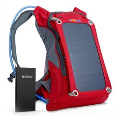 Stylish and premium backpack features a removable solar charging panel, a built-in power bank to store all that energy, and a hydration pack for hands-free drinking! The secret of serious outdoor adventurers: The SunLabz® Solar Charger Backpack (7W) INCLUDING 10,000 mAh Power Bank and 1.8L Hydration Pack