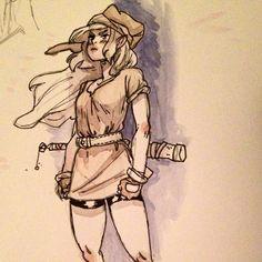 Another #genderswap #link #legendofzelda #sketch tried some minimal #watercolors