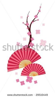 illustration of two fans and a blossom tree by Matthew Cole, via Shutterstock
