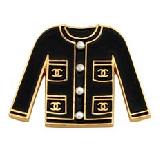 Chanel Black And Gold Enamel Classic Jacket Pin Brooch