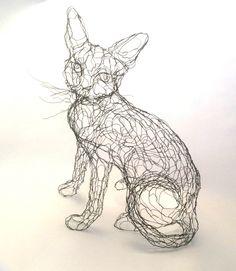 Wire Sculpture Cat: 15in Wire Art 3D Kitty by Elizabeth Berrien, internationally acclaimed wire sculptor by WireZoo on Etsy https://www.etsy.com/listing/219474339/wire-sculpture-cat-15in-wire-art-3d