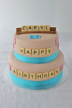 Scrabble Cake by Lydia Bakes - I like this idea.  words on the cake that look like scrabble but there isn't the whole board.