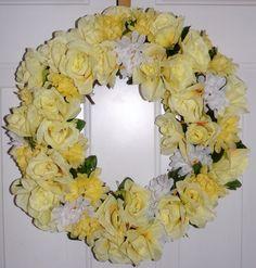 Spring/Summer Wreath Yellow Roses & Mums
