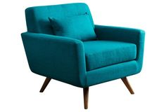 Tess Club Chair, Turquoise Linen