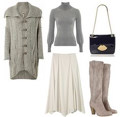 Knitted cardigan, turtleneck with White Long Skirt