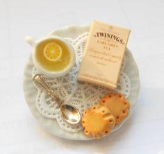 Twinings tea time brooch - Alice in wonderland OOAK,  Handmade Miniature Polymer Clay Food Jewelry. - best seller. $16.00, via Etsy.