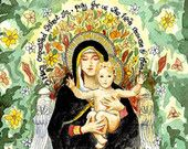 Our Lady of the Lilies Watercolor, Catholic Art Print with Miraculous Medal Prayer, St Catherine Laboure, Madonna and Child, 11x14 8x10 5x7