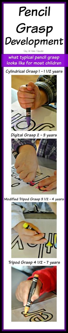 Pencil Grasp Development - what typical pencil grasp looks like for most children - Stay At Home Educator