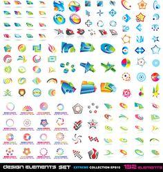 Free - Vector set of Abstract logos material 02