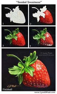 """Step-by-step watercolor painting how to. Progress photos of painting a strawberry. """"Seeded Sweetness"""" by Lynn D. Pratt. See more on my site: http://lynndpratt.com/the-process.html:"""
