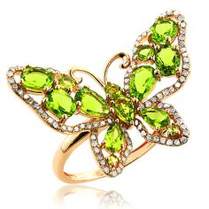 This luscious ladies 14K Gold Diamond Peridot Quartz Butterfly Ring weighs approximately 5 grams and showcases a fabulous 2.35-carat peridot quartz stones, 0.55 carats of round diamonds. Featuring a unique design and a fabulous gold finish, this ladies diamond cocktail ring is available in 14K white, yellow and rose gold.