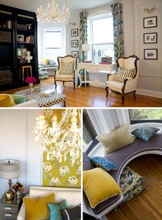 Yellows, blues, high and low: the perfect mix of old & new, and chandeliers. my fave