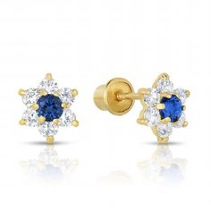 Baby Earrings With Safety Backs 0 18 Ct Gold Certified Iolite