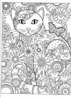 Dover Publications Creative Haven Cats Coloring Book Artwork By Marjorie Sarnat Butterfly Flower Abstract Doodle Zentangle Pages Colouring