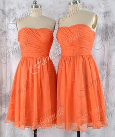 Short Bridesmaid Dresses, Straps Chiffon Orange Bridesmaid Dresses, Short Evening Gown, Wedding party Dresses, Orange Cocktail Dresses