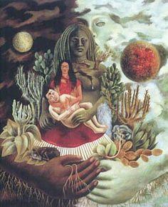 Autorretrato en la Frontera Entre El Abrazo de Amor de el Universo, la Tierra (México), Yo, Diego y el Señor Xólotl. Frida Kahlo.