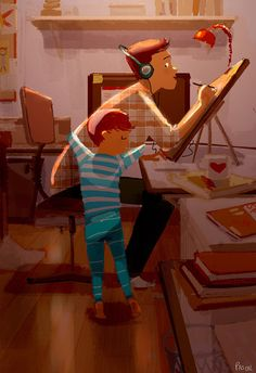 Hug attack! My son likes to sneak behind me when I'm drawing and give me sneaky hug attacks! #pascalcampion