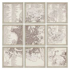Paragon City of Rome Framed Wall Art - Set of 9 - 1129