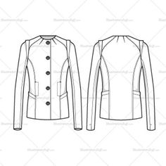 Women's Crew Neck Jacket Fashion Flat Template