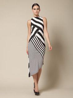 Silk Traver Bias Dress by Kimberly Ovitz at Gilt Maxi Robes, Over 50 Womens Fashion, Stripes Fashion, Striped Dress, Dress Black, Classy Outfits, Cotton Dresses, Dress Patterns, Silk Dress