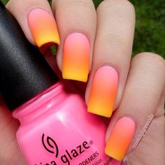 Check out this almost matte effect gradient nail art in pink, orange and yellow combo