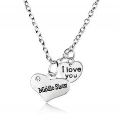 Middle Sister I Love You Double Heart Pendant Necklace