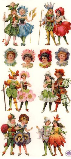 Flower fairy stickers for crafting, made in the USA Decoupage Vintage, Vintage Paper, Vintage Art, Victorian Flowers, Vintage Flowers, Victorian Angels, Paper Dolls, Art Dolls, Scrapbook Paper