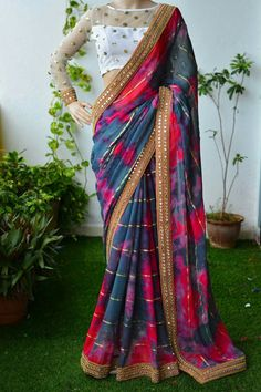 Discover thousands of images about Multi coloured Saree Blouse Patterns, Designer Blouse Patterns, Saree Blouse Designs, Designer Saree Blouses, Trendy Sarees, Stylish Sarees, Indian Designer Outfits, Indian Outfits, Saree Floral