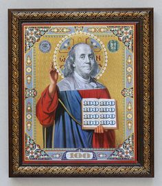 saint franklin series collages money, materialism and morality