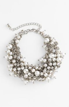Nina 'Peony' Glass Pearl & Crystal Cluster Bracelet available at #Nordstrom