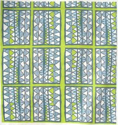 """Blue & lime cutouts on lime, vertical: from the Gelati Registers Collection, fabric designed by Su G. Sample (8x8"""" swatch) printed on quilting cotton by Spoonflower."""