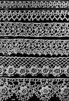 Crochet Irish Beauties Edging Patterns Nos. 1801 to 1806 originally published in Star Book of 100 Edgings. #edging #edgingpatterns