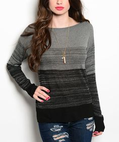 This Black & Gray Stripe Scoop Neck Sweater by 24|7 Frenzy is perfect! #zulilyfinds