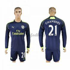 Billige Fodboldtrøjer Arsenal 2016-17 Chambers 21 Langærmet Tredjetrøje