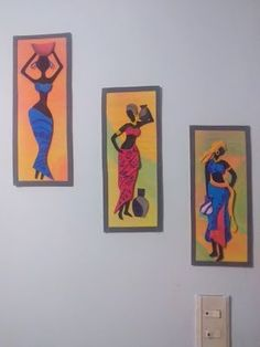 Wall Painting Decor, Fabric Painting, Multi Canvas Painting, Canvas Art, Tracing Art, African Art Paintings, Clay Art Projects, Art Africain, Africa Art