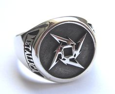 Metallica Ninja Star Ring Sterling Silver 925 by vikigreen on Etsy, $59.99
