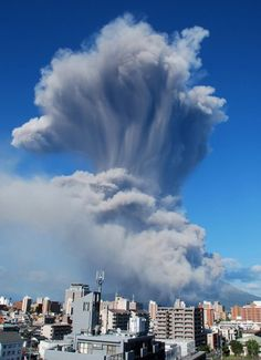 A cloud of ash rises from the 1,117-metre high Mount Sakurajima near Kagoshima city in Japan's southern island of Kyushu. The volcano erupted an ash plume up to 5,000 metres into the air.