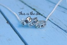 This sterling silver hand stamped bead is a fashionable way to keep that memorable message close. Sterling Silver Jewelry, Silver Rings, Special Words, Hand Stamped, Initials, How To Memorize Things, Beaded Necklace, Jewelry Design, Memories