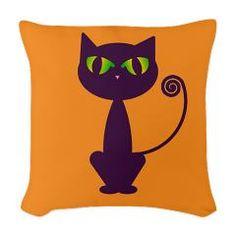 Purple Cat Woven Throw Pillow