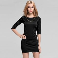 New Fashion Stylish Office Lady Women's O-neck Above-knee Slim Bodycon Sexy Dress