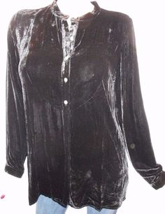 $18.00 & Free Shipping! J. Jill Size M Long Black Velvety Tunic Top With Button Front and Long Sleeves  #JJill #Tunic #Casual