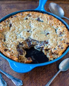 Chocolate Chip Peanut Butter Oatmeal Skillet Cookie by @Averie Sunshine {Averie Cooks}